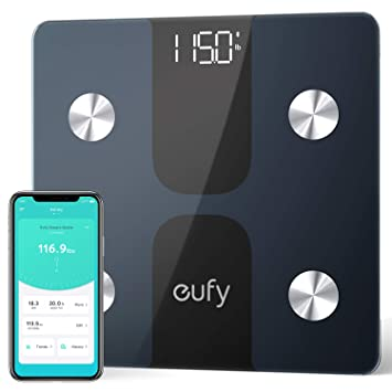 eufy Smart Scale C1 con Bluetooth, Pantalla LED Grande, 12 mediciones, Peso/