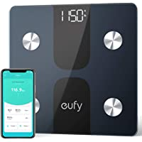 eufy Smart Scale C1 with Bluetooth, Large LED Display, 12 Measurements, Weight/Body Fat/BMI/Fitness Body Composition Analysis, Auto On/Off, Auto Zeroing, Tempered Glass Surface, Black/White