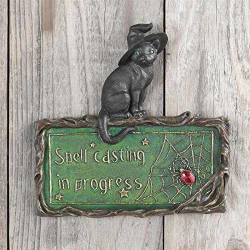 Design Toscano Black Cat Sign - Witch's Cat Spell-Casting Wall Sculpture - Halloween Decorations from Design Toscano