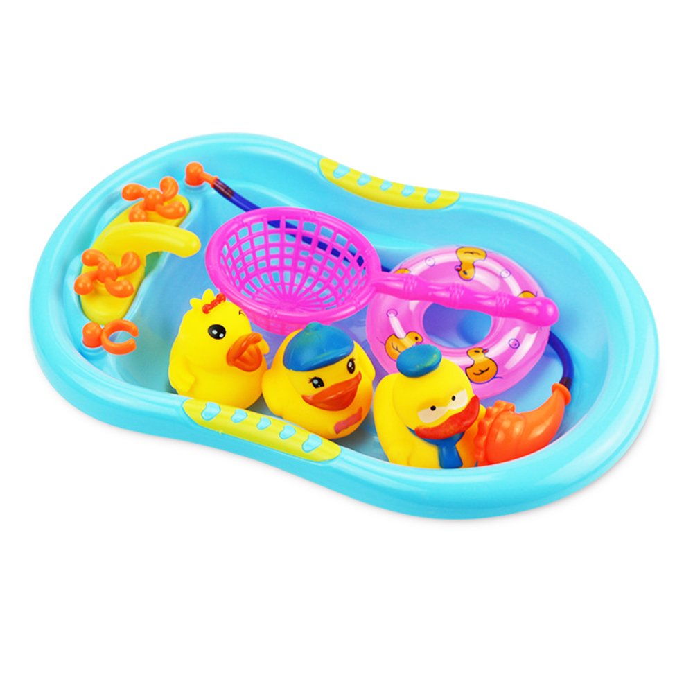 JER Baby Toy Kids Cute Shower Educational Bath Toy Cute Rubber Squeaky Duck Toy