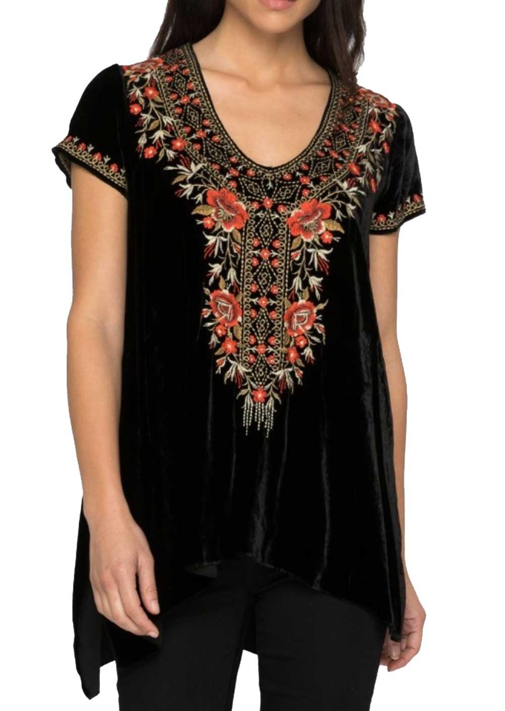Johnny Was Women's Black Eleanor Velvet Drape Top