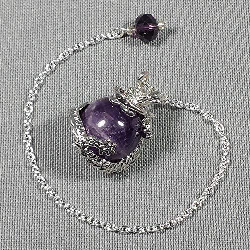 Amethyst Dragon Amethyst Dragon Sphere Crystal Pendulum w/Swarovski Crystal Finger Grip, SSP2