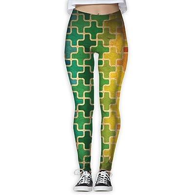 TIA HICKS Women's Colorful Cross Pattern Yoga Pants Compression Comfy Yoga Capris Power Flex Running Pants Workout Leggings
