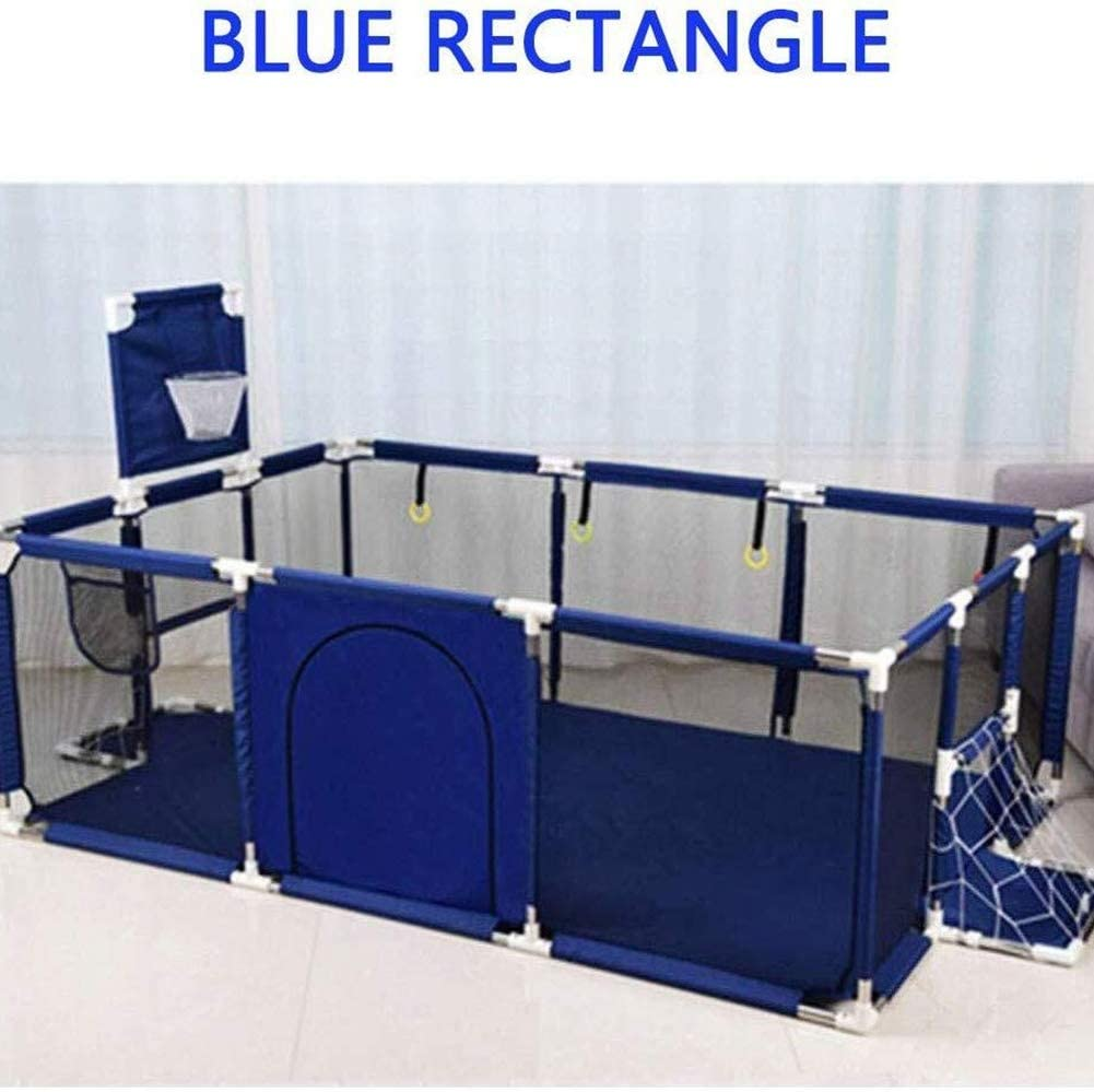 LSGNB Childrens Play Fence Portable Child Playpen Rectangle Toddlers Play Yard With Door Activity Center Child Play Game Fence Anti-Fall Play Pen,Safe And Secure Color : Blue