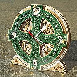 Celtic Cross Knots Automaton wooden table clock, unique clock, personalized gifts, anniversary gift, mantle clock, home decor, desk clock