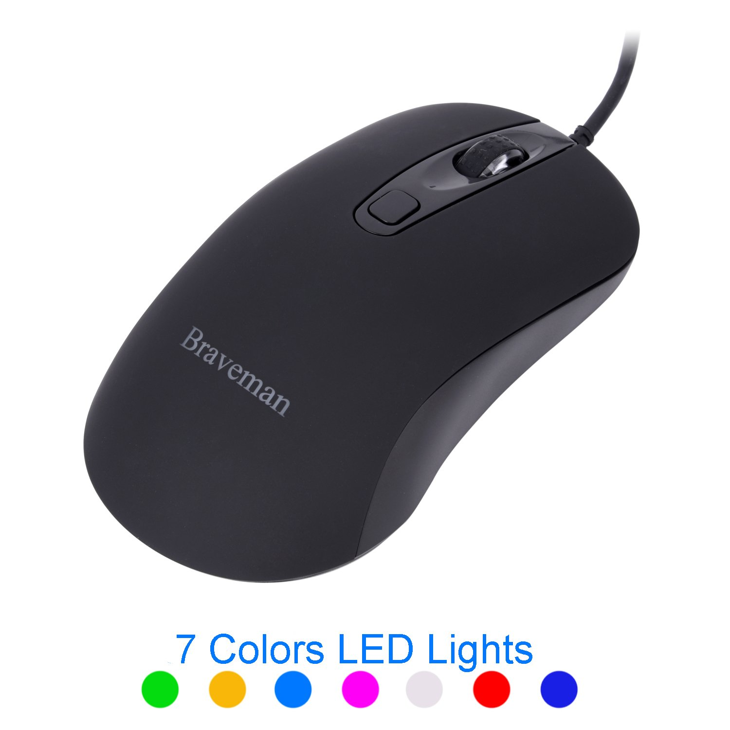 Braveman Wired Optical Mouse, 7 Adjustable DPI Level 3500 DPI Highest, 3-Button Mice with 7-Color LED Backlit for PC Laptop Computer for Office or Gaming (Black)