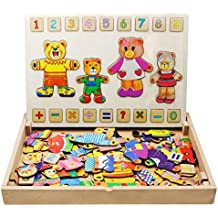 FLERISE Kids Toys Magnetic Puzzles Double Sides Wooden Games 144 Pieces Education Learning Toys for Children