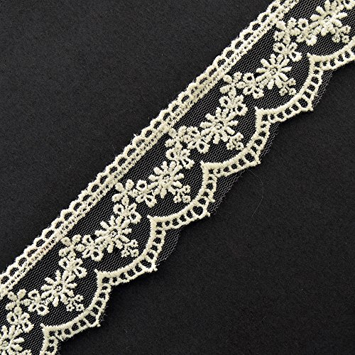 IVORY Flower Embroidered tulle lace Trim by 2-Yards, 1-1/4 Inch, TR-11192