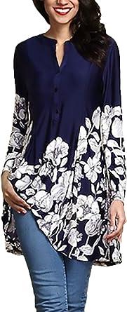 Mujer Camisas Otoño Anchos Estampadas Flor Camisa Larga Fiesta Estilo Blusa Manga Larga Botonadura Estilo Moderno Camisas: Amazon.es: Ropa y accesorios