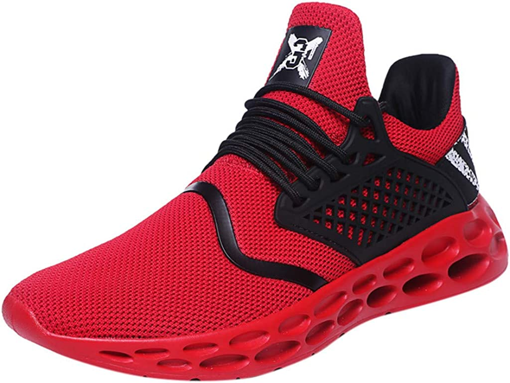 YnuYNSsn Mens Fashion Athletic Breathable Lace-up Sport Athletic Lightweight Walking Running Shoes Sneakers