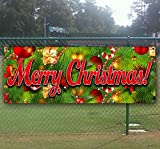 Merry Christmas 3 13 oz heavy duty vinyl banner with 4 grommets