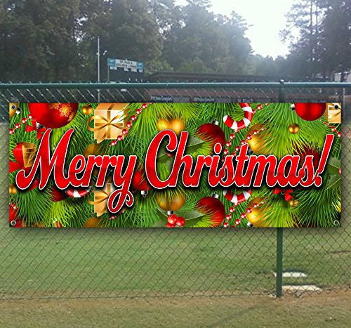 Merry Christmas 3 13 oz heavy duty vinyl banner with 4 grommets by Tampa Printing