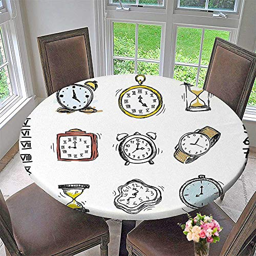 Mikihome Round Premium Tablecloth of Watches and Doodled Clocks White and Black Stain Resistant 59