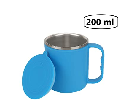 1f823b2f114 Image Unavailable. Image not available for. Colour: Fabcorner Vacuum Small Stainless  Steel Insulated Coffee Tea Travel Mug with Sipper Lid Blue