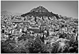 Black and White Athens Greece Poster 19 x 13in