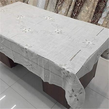 XYAZ Drawnwork Bordado Mantel Lino algodón Lino Mantel Mantel con Toalla Gris Claro: Amazon.es: Hogar