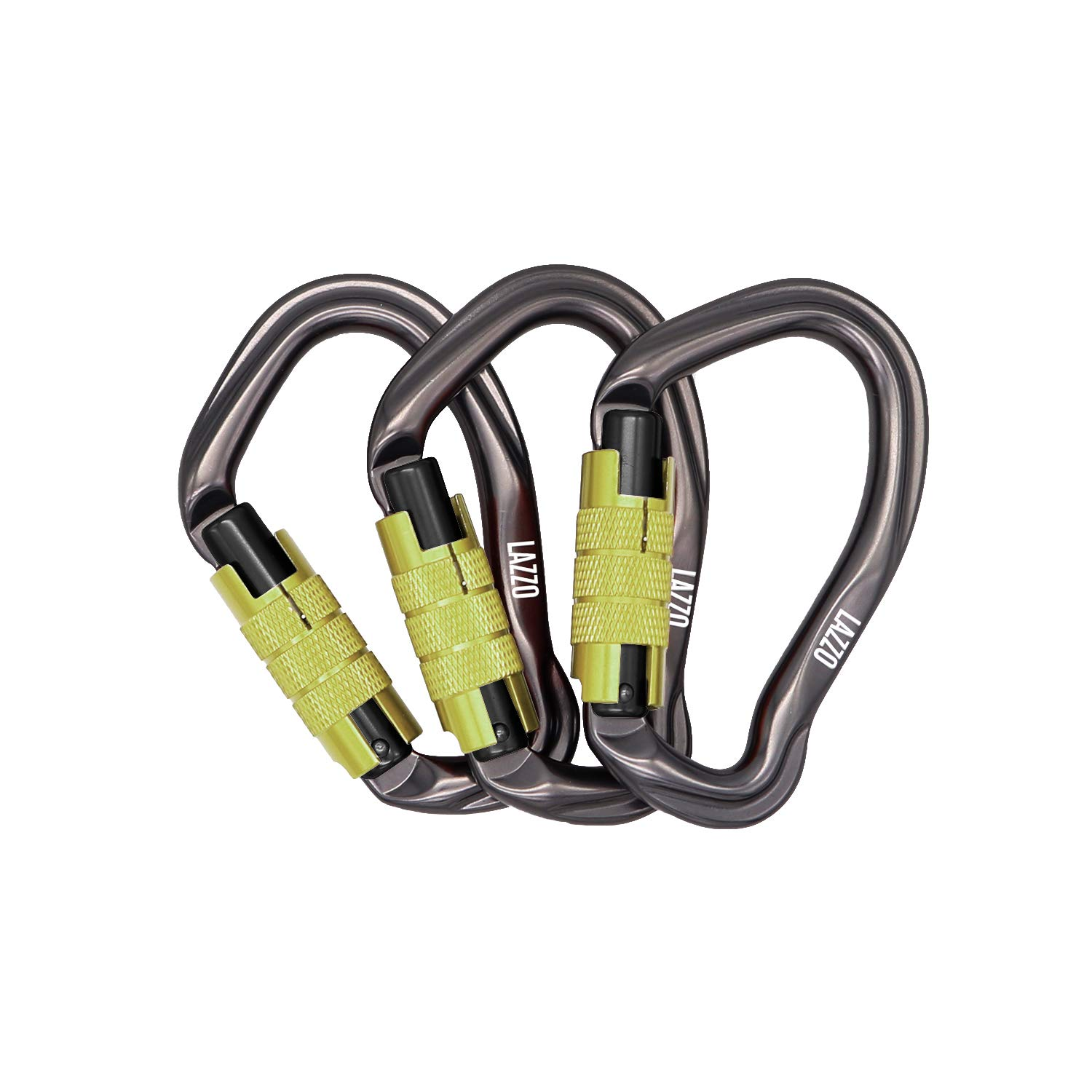 LAZZO 3 Pack Twist Lock Climbing Carabiner Clips, Auto Locking and Heavy Duty, Perfect for Climbing and Rappelling, Carabiner Dog Leash, D Shaped 4.21 Inch, Large Size,Yellow by LAZZO