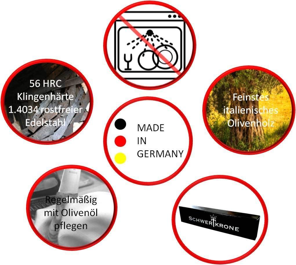 Schwertkrone Steakmesser Brotzeitmesser Fr/ühst/ücksmesser Schinkenmesser Solingen Germany Olivenholz Gezahnte Schneide