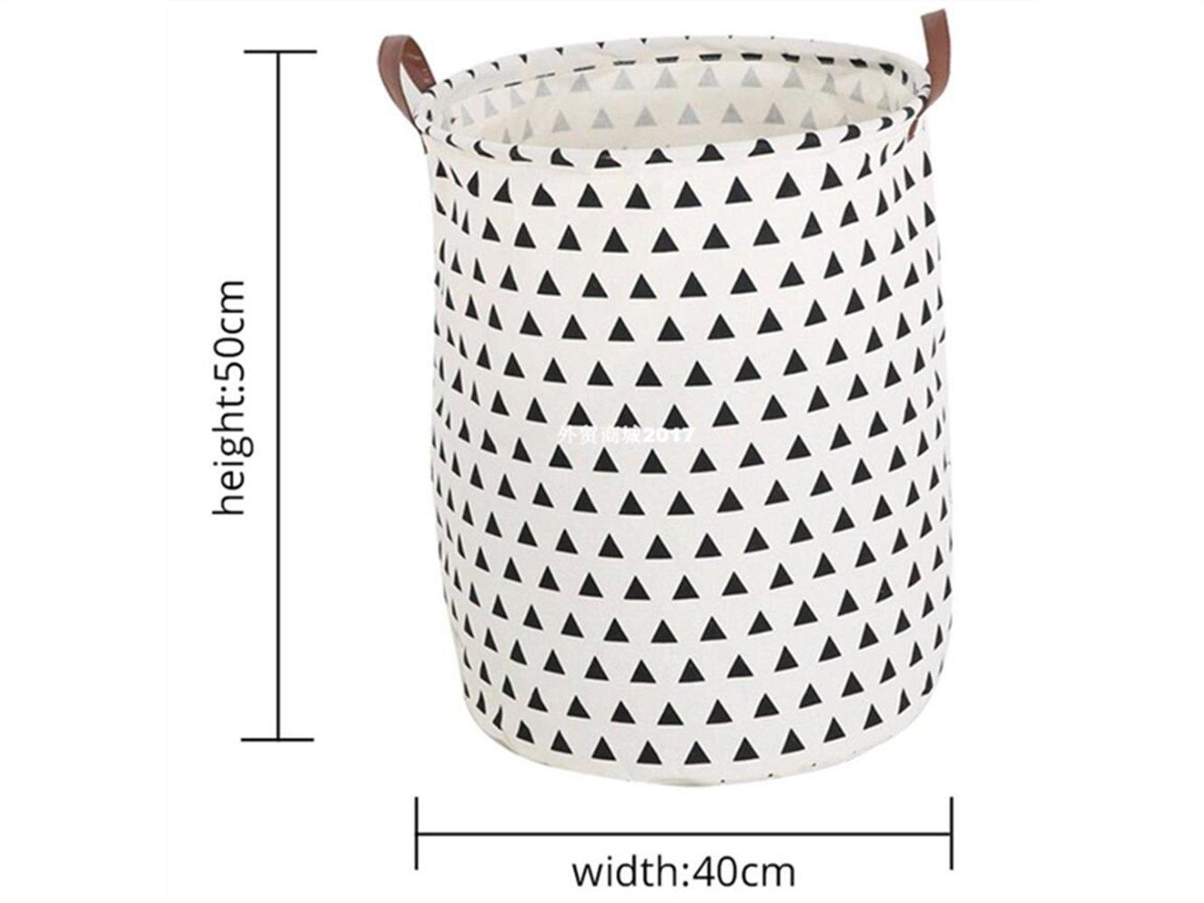 Gelaiken Lightweight Triangle Pattern Storage Bag Canvas Bucket Sundries Storage Bucket(White)
