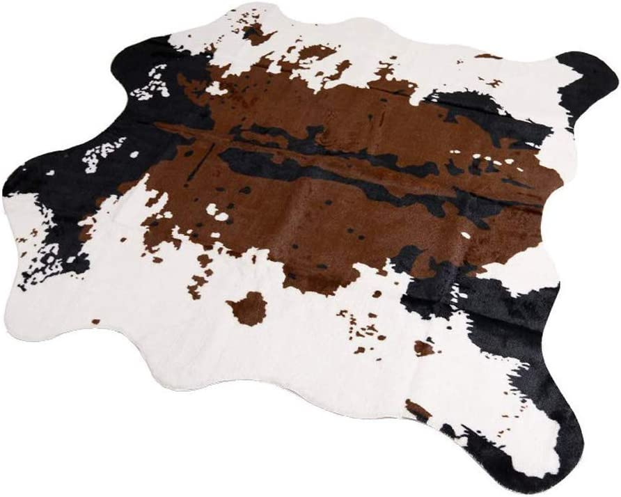 Mustmat Brown Cow Print Rug 55 1 W X 62 9 L Faux Cowhide Rugs Cute Animal Printed Carpet For Home Kitchen Dining