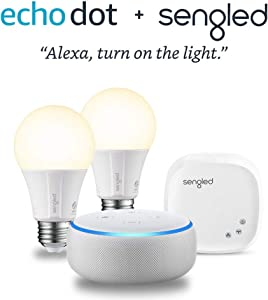 Echo Dot (3rd Generation) - Sandstone with 2 Smart Bulb Kit by Sengled