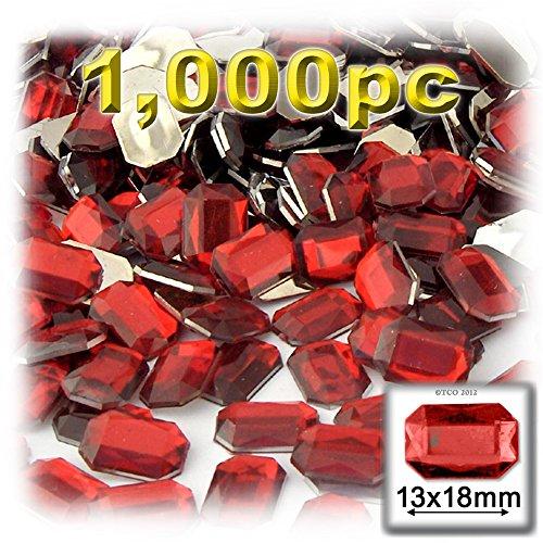 長方形の八角形Craftsコンセント1000-pieceアクリルアルミ箔フラットバックラインストーン、13by 18mm、ルビーレッドの商品画像