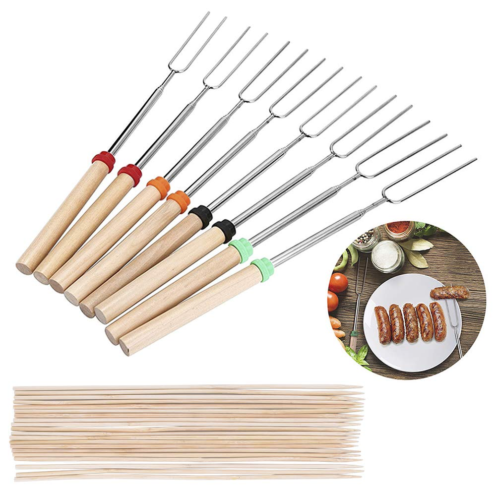 Geboor Marshmallow Roasting Sticks with 20 Bamboo Skewers Free Bag, Barbecue Stainless Steel Grill Sticks Extendable Forks for Campfire Firepit and Sausage BBQ by Geboor (Image #1)