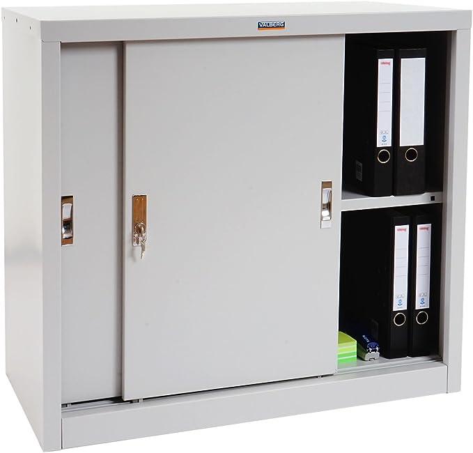 Armario Valberg T333, de metal de oficina armario de chapa de acero de armario, 2 puertas correderas de 83 x 91 x 46 cm, colour gris: Amazon.es: Hogar