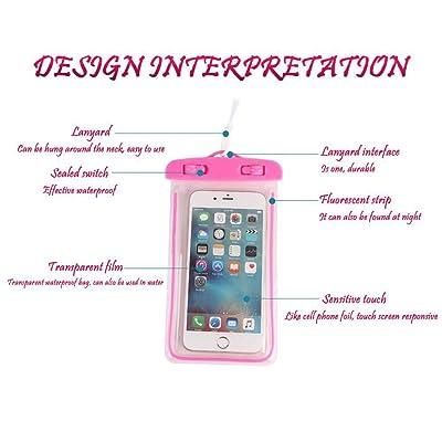5.5 pouce lumineux téléphone portable sac étanche, sac de téléphone étanche PVC, téléphone mobile à écran tactile transparent étanche sac exté