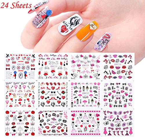 Comdoit Nail Stickers for Women Nail Art Accessories Water Transfer Nail Decals 24 Sheets Nail Tattoos Decorations Sexy Girls Love Kiss Lips Heart Patterns Design Manicure Tips Charms Nail Decor