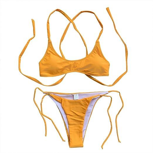 b8fa8fdad84 Amazon.com: FENZL Women Two Piece Swimsuit, Solid Strappy Bandage Hollow Bikini  Set Beachwear: Clothing