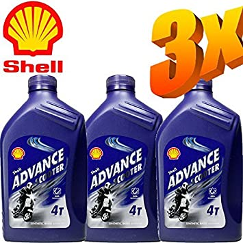 Shell Advance Scooter 4 - Lote de 3 botes de aceite 5W40 de 1 l ...