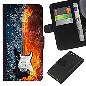 Ihec-Tech / Flip PU Cuero Cover Case para Apple iPhone 5C - Water and fire guitar