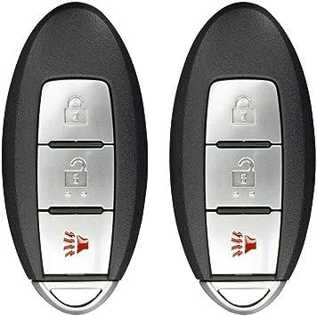 2 Pack FikeyPro Keyless Entry Remote Control Car Key Fob fits Nissan Cube Juke Quest Leaf 3-Button FCC CWTWB1U808