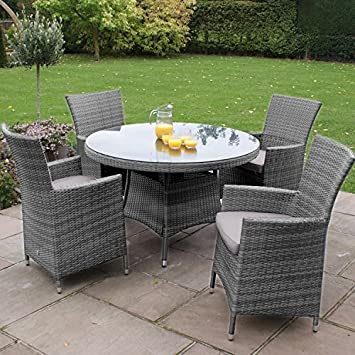 san diego baby rattan garden furniture grey 4 seater round table set rh amazon co uk