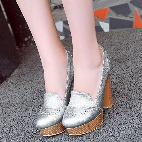 Verschluss Silber Mee Damen Shoes Pumps high ohne heels Plateau qaCAUTwf