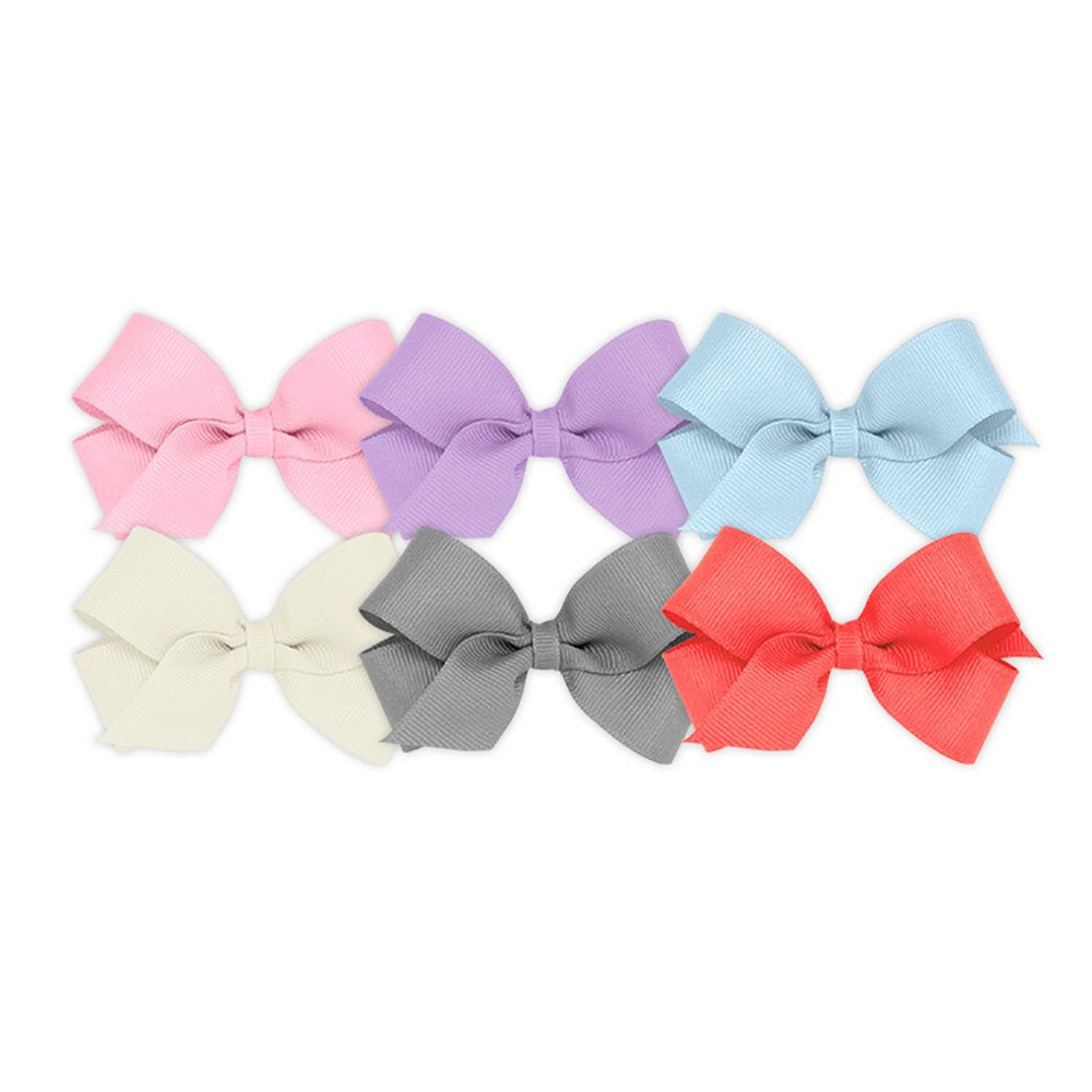 Wee Ones Girls' Mini Bow 6 pc Set Solid Grosgrain Variety Pack on a WeeStay Clip - Pearl Pink, Light Orchid, Millennium Blue, Antique White, Gray and Watermelon