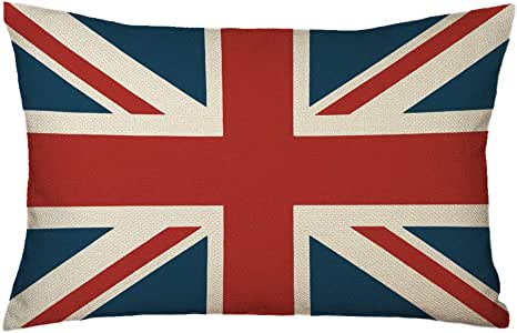 UOOPOO Cotton Linen Fabric British Vintage Style Union Jack Flag Lumbar Pillow Cover Kidney Pillowcase 12 x 20 Inches
