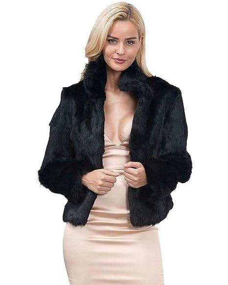 Veste Fourrure Mode Femme Hiver Courte En Manteau Élégant Manches 7rwU7x