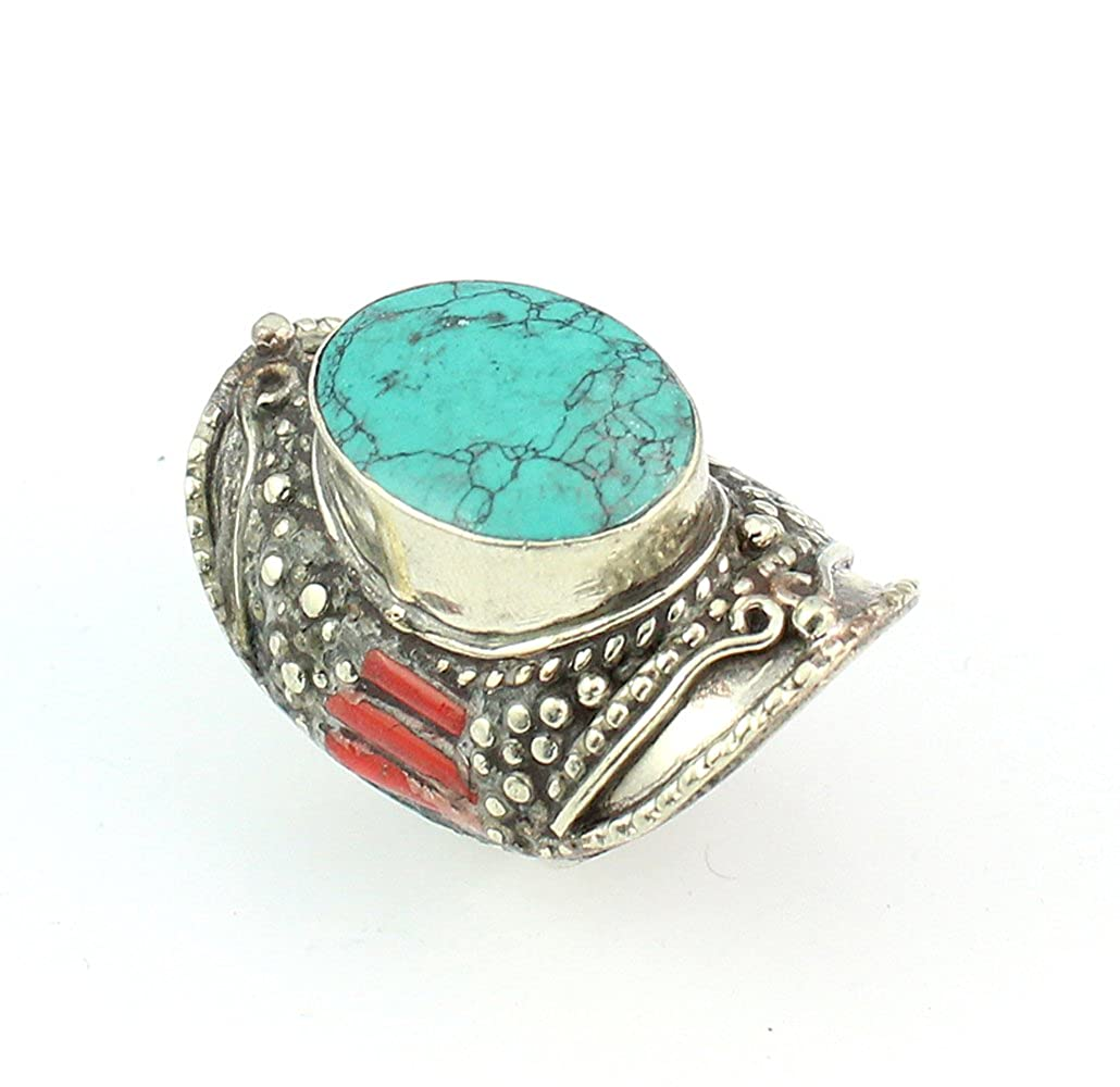CORAL TURQUOISE NEPALI JEWELRY TIBETAN SILVER PLATED RING 9 S20503