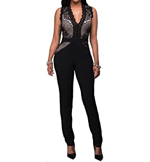 f7c71e27aeb597 AllForYou18 Elegant Damen Jumpsuit mit Spitze Lang Hosen V-Ausschnitt  Ärmellos Frauen Overall Party Abendmode