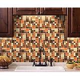 Wood Grain Mosaic Peel and Stick Tile Backsplash, Rustic Home Design, 10