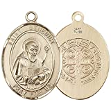 14kt Gold St. Benedict Medal. Patron Saint of Monks/Poison Sufferers