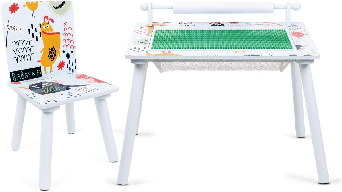 Lalaloom DREAM DECOR - Mesa de juegos infantil de madera verde con rollo de papel mesa multiusos con 1 silla niños para jugar y construir 60x40x44cm