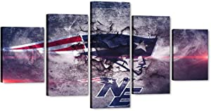 Canvas Wall Art American Football Pictures New England Patriots NFL Team Logo Sport Posters and Prints Framed Wooden Modern Artwork for Living Room Bedroom Home Decor 5 Pieces Set (60''W x 32''H)