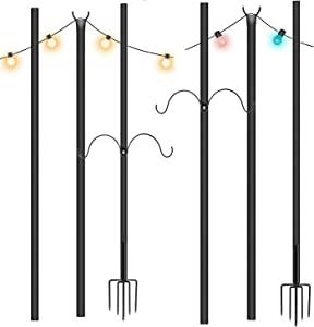 Oeyal 2 Pcs 9ft Garden Light Stand Christmas Light Strings Poles Outdoor Light Stands Steel Powder Coated Hanging String Lights Holders for Backyard Patio Wedding