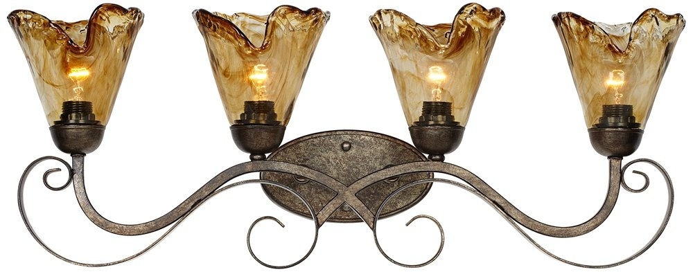 Amber Scroll 29 1/2'' Wide Art Glass and Bronze Bath Light by Franklin Iron Works