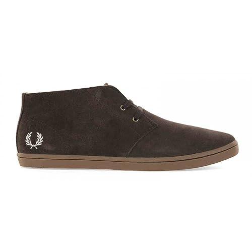 Fred Perry Byron Mid. B7400. Suede Marron y Marino. Zapatos de Cordones Oxford
