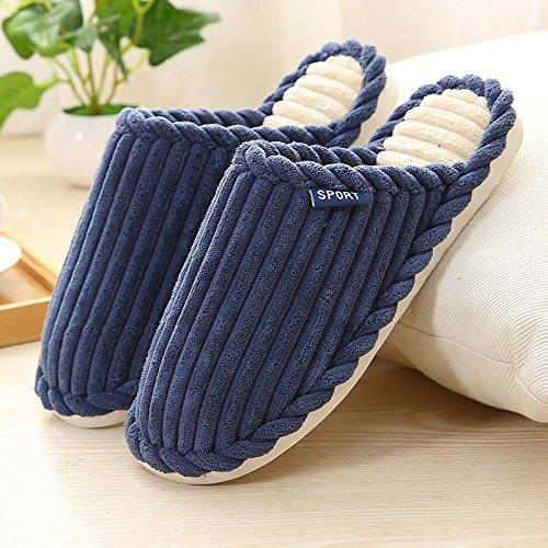 Fankou paio di pantofole di cotone inverno uomini e donne pieni di cartoni animati incantevole soggiorno coppie di spessore, antiscivolo ,42-43, blu scuro
