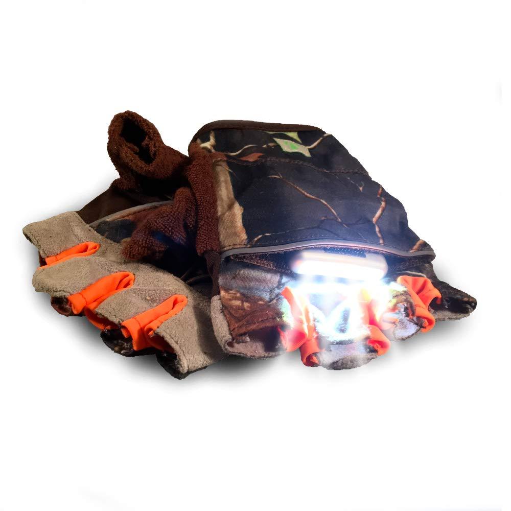 RunLites Mangata - Gloves with Lights - USB Rechargeable LED Lights - Half-Gloves ... (Camo) (Large)